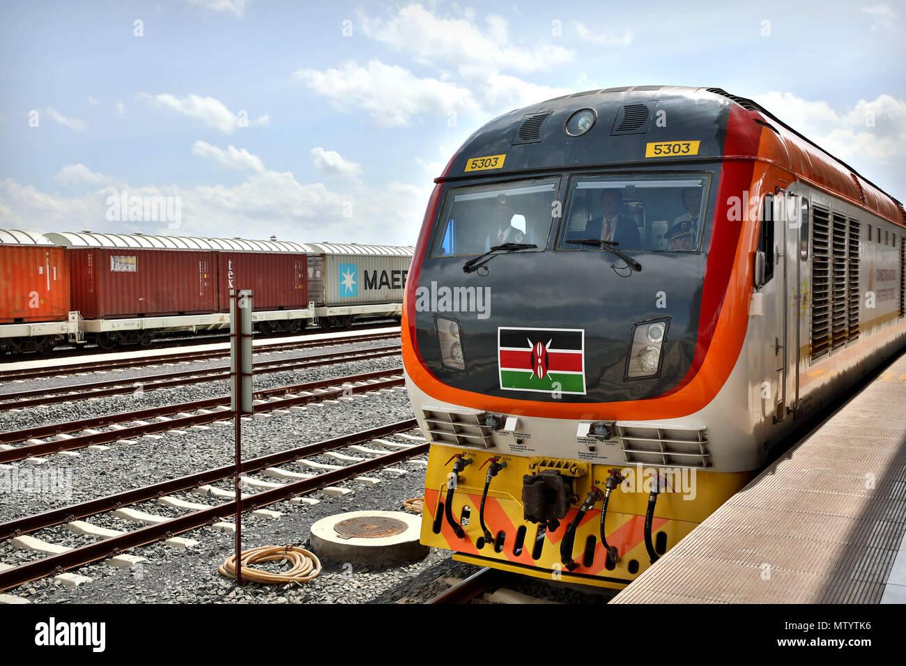 Nairobi, Kenya  31st May, 2018  A train leaves the Nairobi