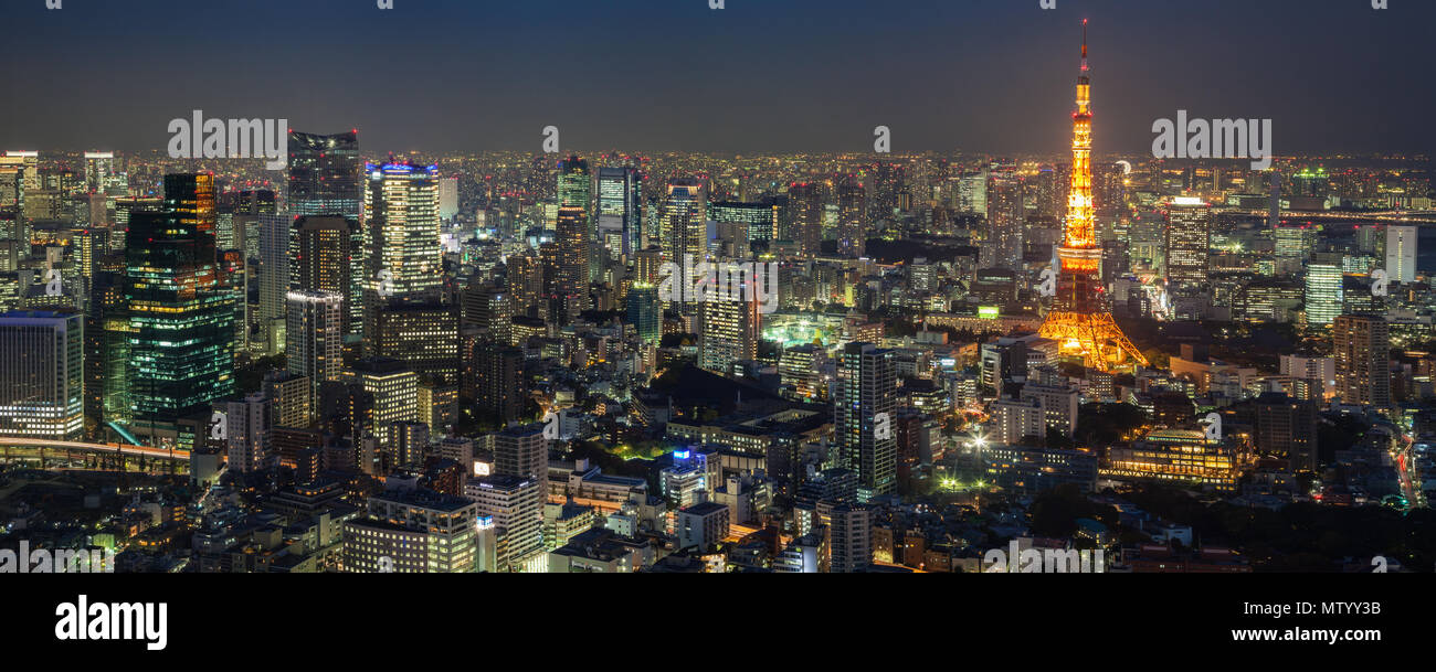 City skyline and Tokyo Tower viewed from Roppongi Hills, Tokyo, Japan Stock Photo