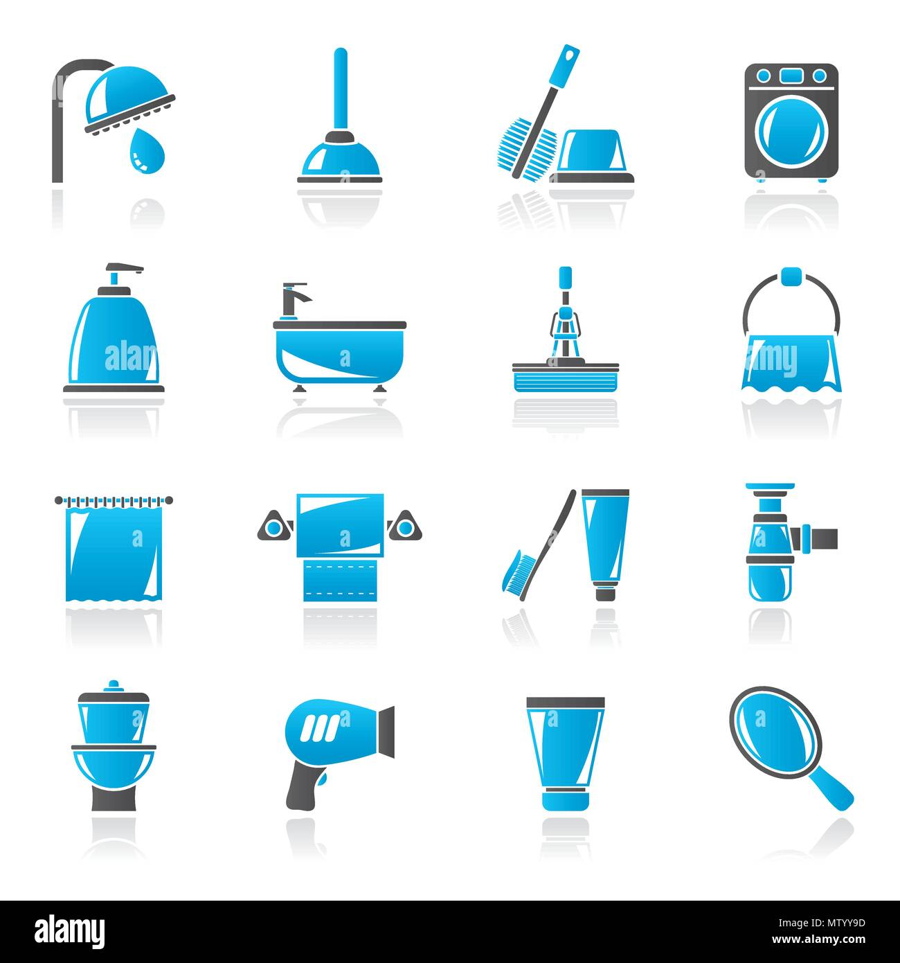 Bathroom and hygiene objects icons -vector icon set, Created For Print, Mobile and Web  Applications - Stock Image