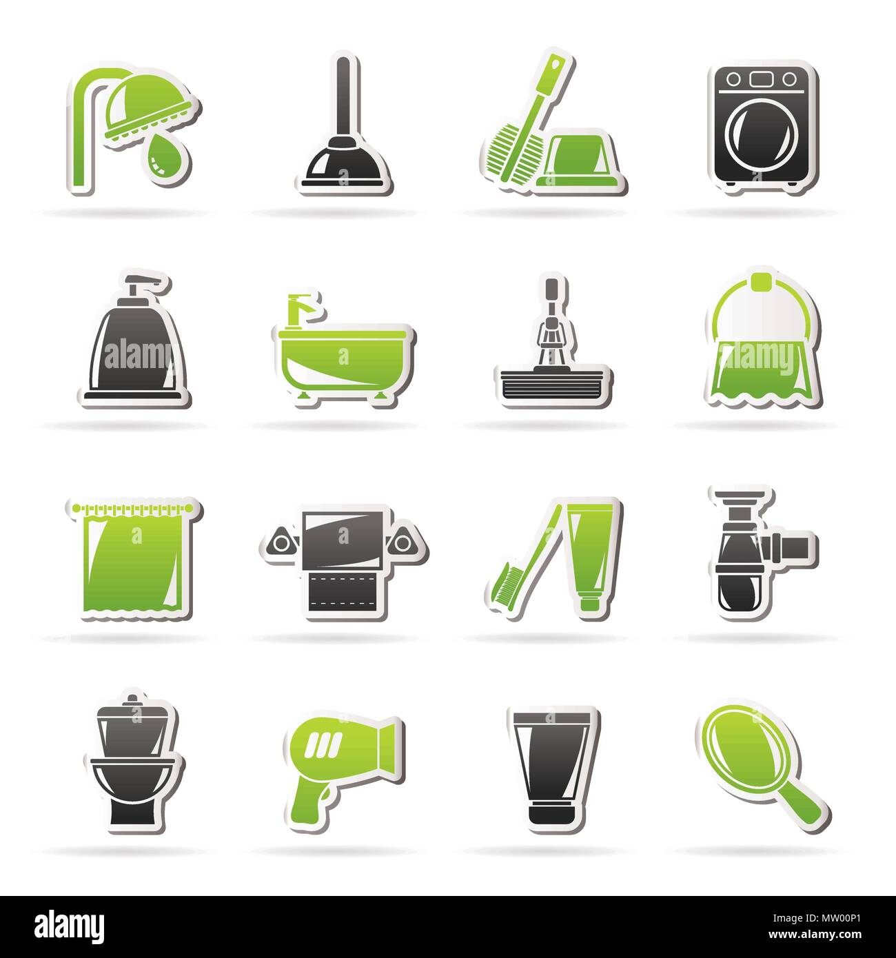 Bathroom and hygiene objects icons -vector icon set, Created For Print, Mobile and Web  Applications Stock Vector
