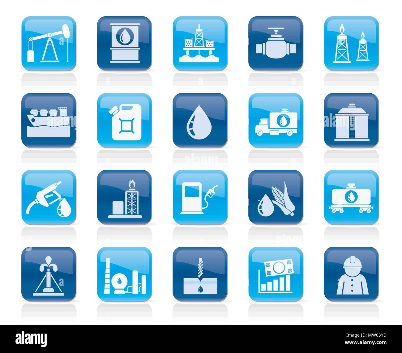 Oil industry, Gas production, transportation and storage icons - vector icon set Stock Vector