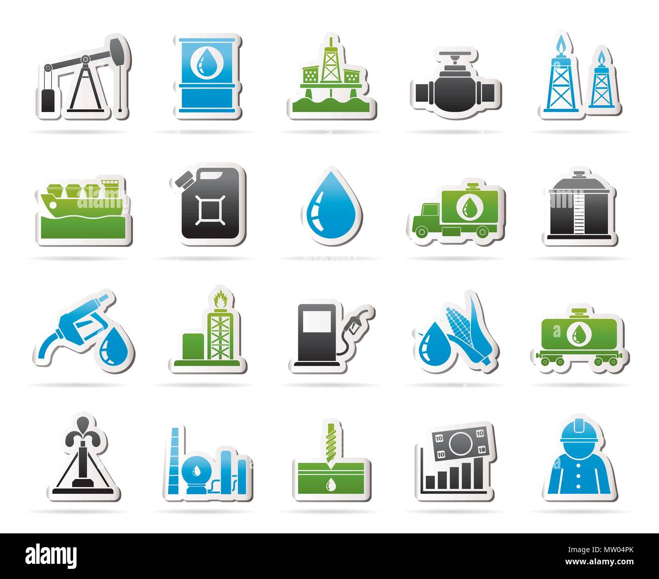 Oil industry, Gas production, transportation and storage icons - vector icon set - Stock Image