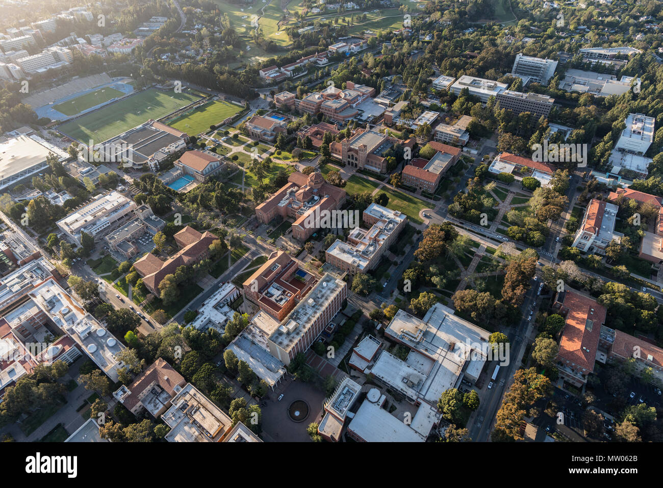Los Angeles, California, USA - April 18, 2018:  Aerial overview of historic architecture on the UCLA campus near Westwood. - Stock Image