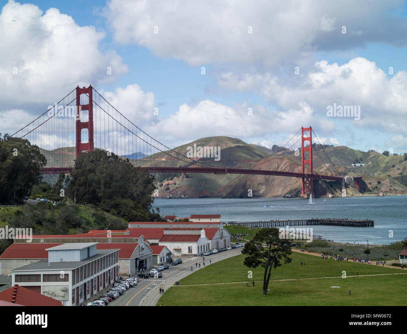 an approach shot of golden gate bridge with Mason street in the foreground and Greater Farallones Visitor Center - Stock Image
