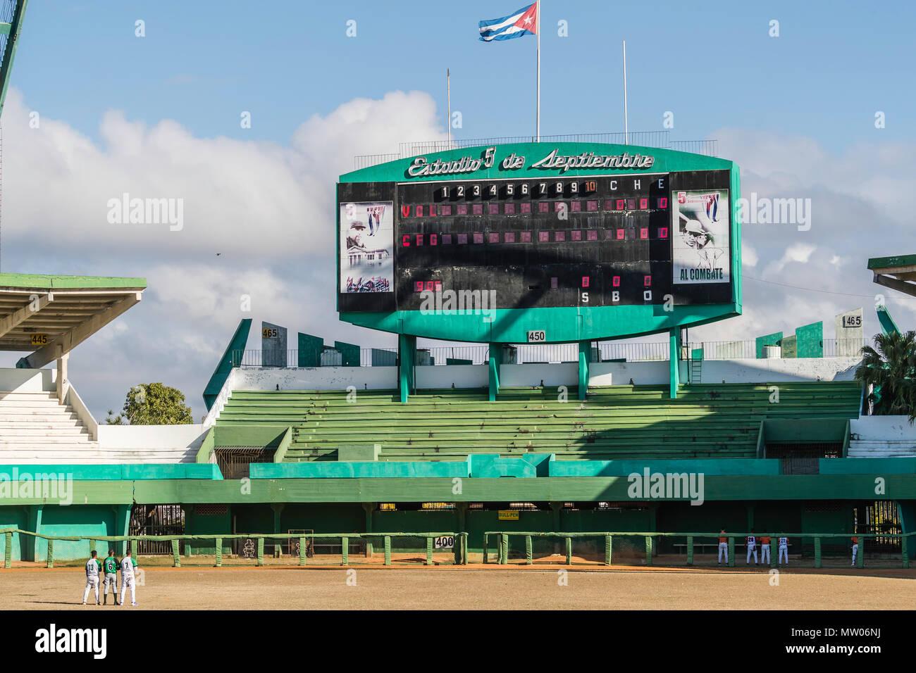 The Academia Provincial de Beisbol stadium scoreboard in Cienfuegos, Cuba. - Stock Image
