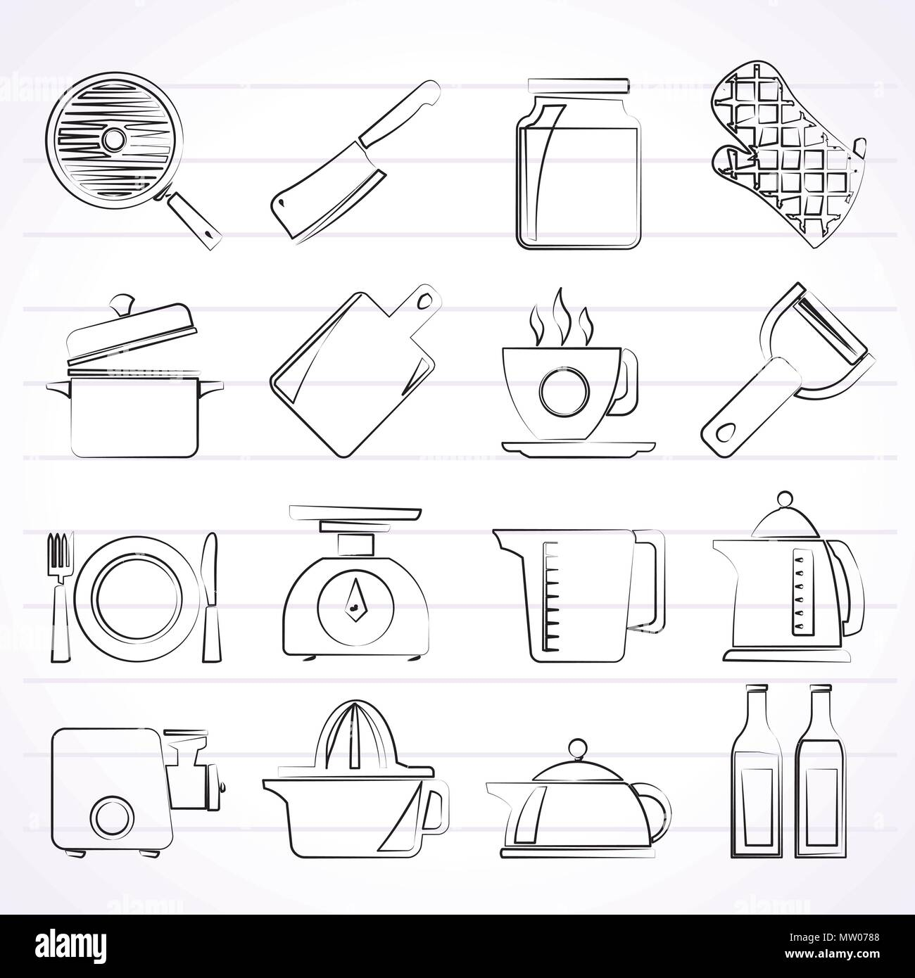 Home kitchen equipment icons - vector icon set - Stock Vector
