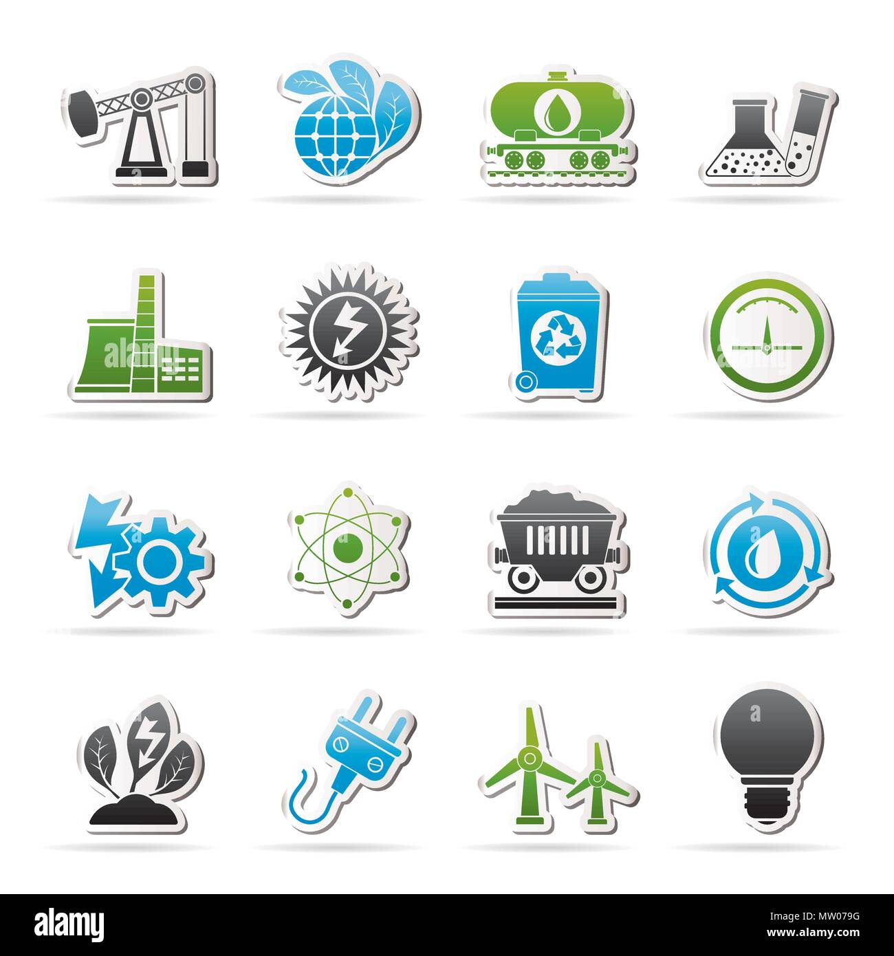 Power and energy production icons - vector icon set - Stock Image