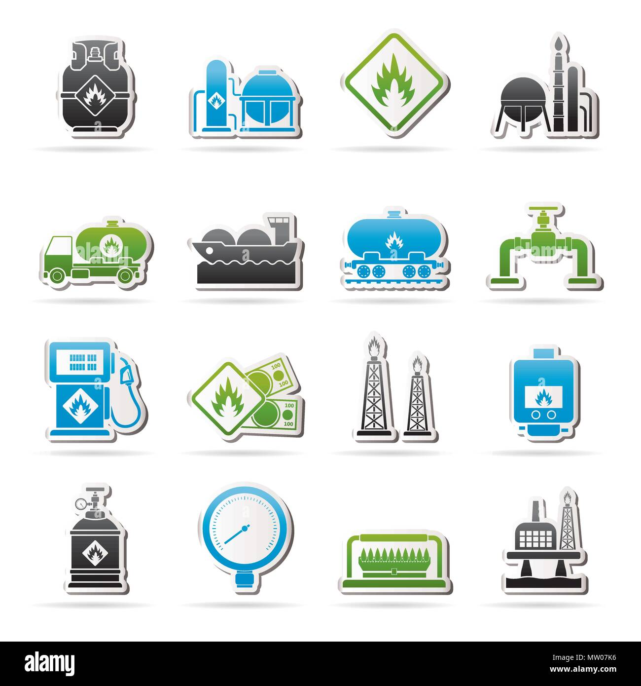 Natural gas fuel and energy industry icons  - vector icon set - Stock Vector