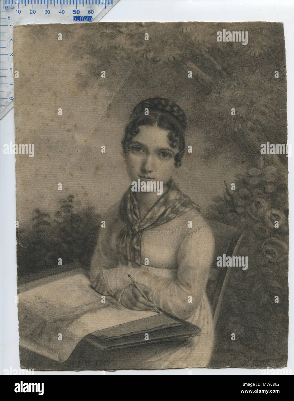 . English: Portrait of an Artistic Lady sitting in a garden, with what appears to be a portfolio-case on her lap, drawing a picture of a tree; subject not identified, but might be identifiable. French school, Empire style, Napoleonic era (N I); circa 1810. Unsigned, artist not (definitely) identified, dealer attribution to Jean-Jacques Karpff (a.k.a. 'Kasimir') 1770-1829. Charcoal drawing on laid paper with matermarks; the drawing appears to have been cut down from its original size. Note that the paper was not cut on the square, & its shape is slightly irregular. Wittig collection, item 51; o Stock Photo