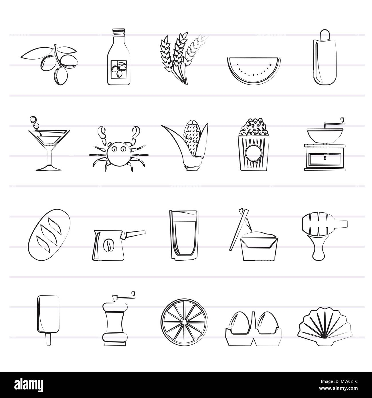 Different kind of food and drinks icons 3 - vector icon set Stock Vector