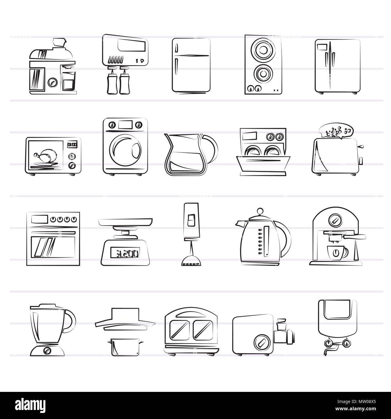 Kitchen Appliances And Kitchenware Icons Vector Icon Set