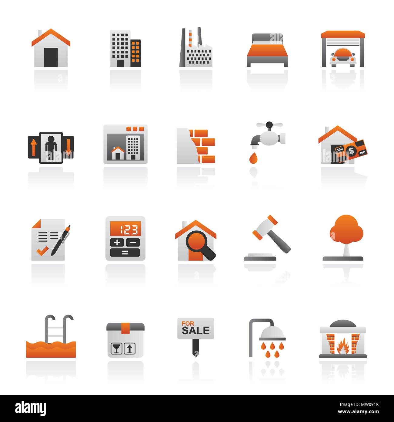 Real Estate services Icons - Vector Icon Set - Stock Vector