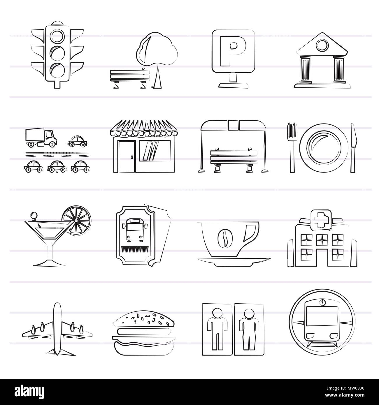 Urban and city elements icons - vector icon set Stock Vector
