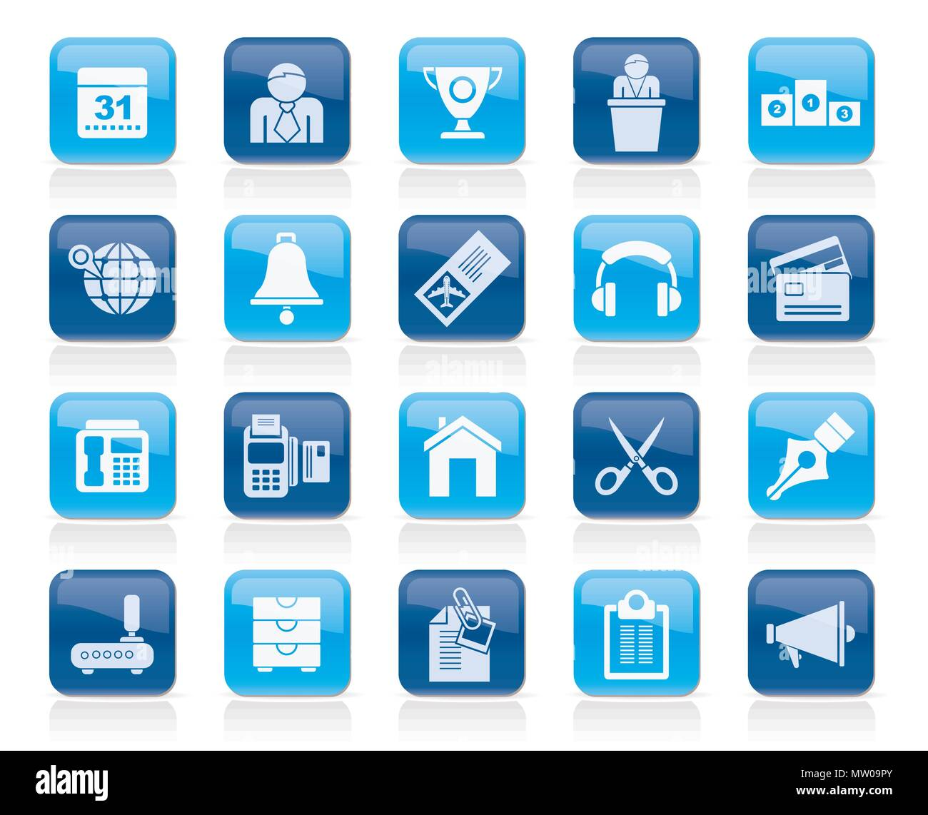 Business and office equipment icons - vector icon set 4 - Stock Vector