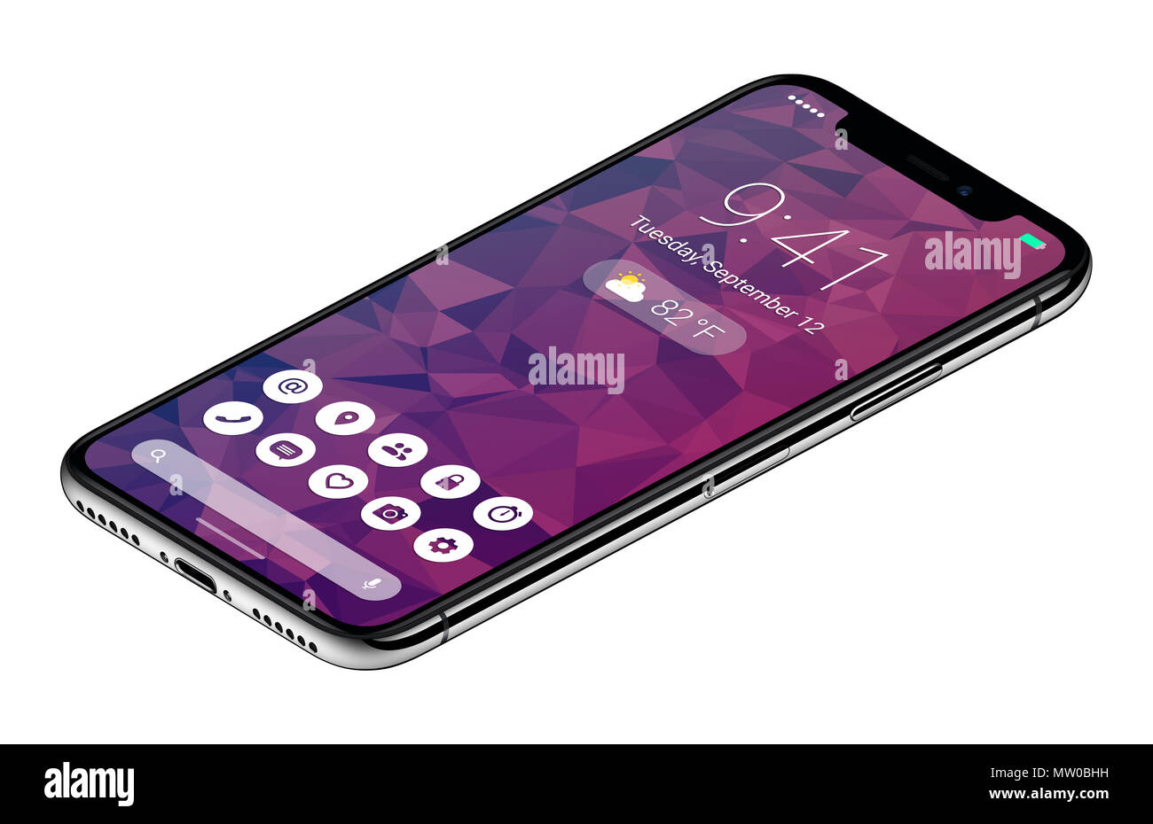 Isometric view frameless smartphone concept with material design flat UI interface similar to Android P. - Stock Image