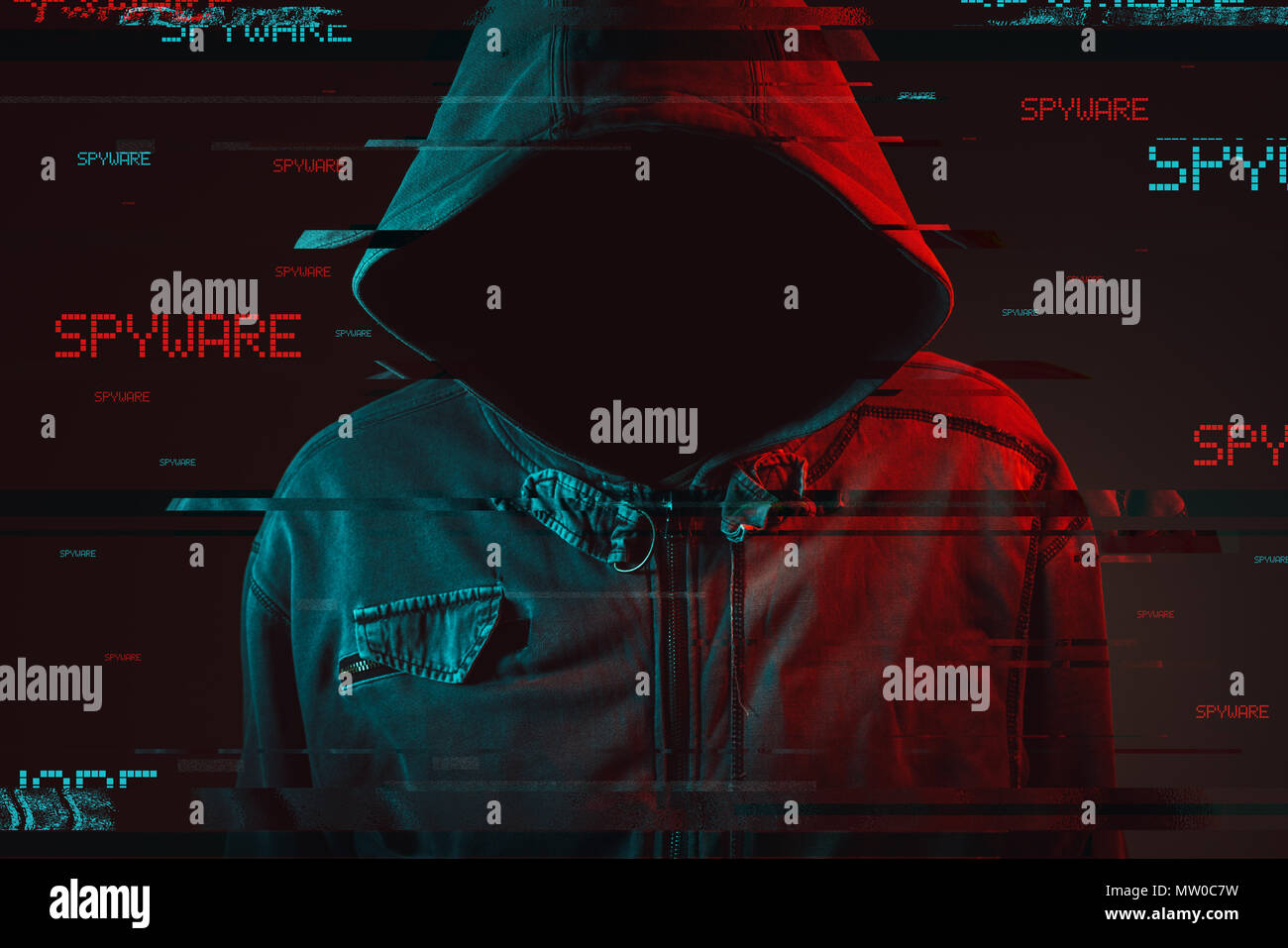 Spyware concept with faceless hooded male person, low key red and blue lit image and digital glitch effect - Stock Image