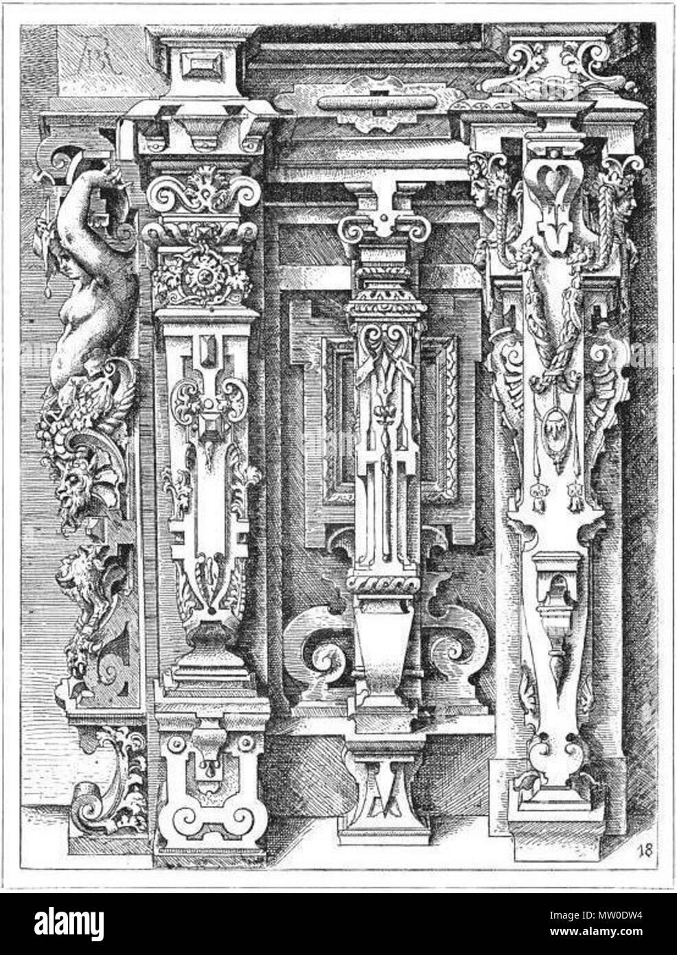 . 'Pilastres, gaines, par W. Dietterlin'. 1861. Wendel Dietterlin (fac-simile) 484 Pilastres, gaines ioniques (Dietterlin, pl. 100) - Stock Image