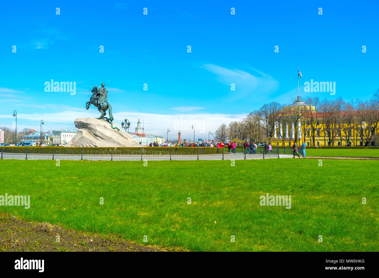 SAINT PETERSBURG, RUSSIA - APRIL 27, 2015: Equestrian monument to Peter the Great is the most known monument in the city mounted on huge rock, called  - Stock Image