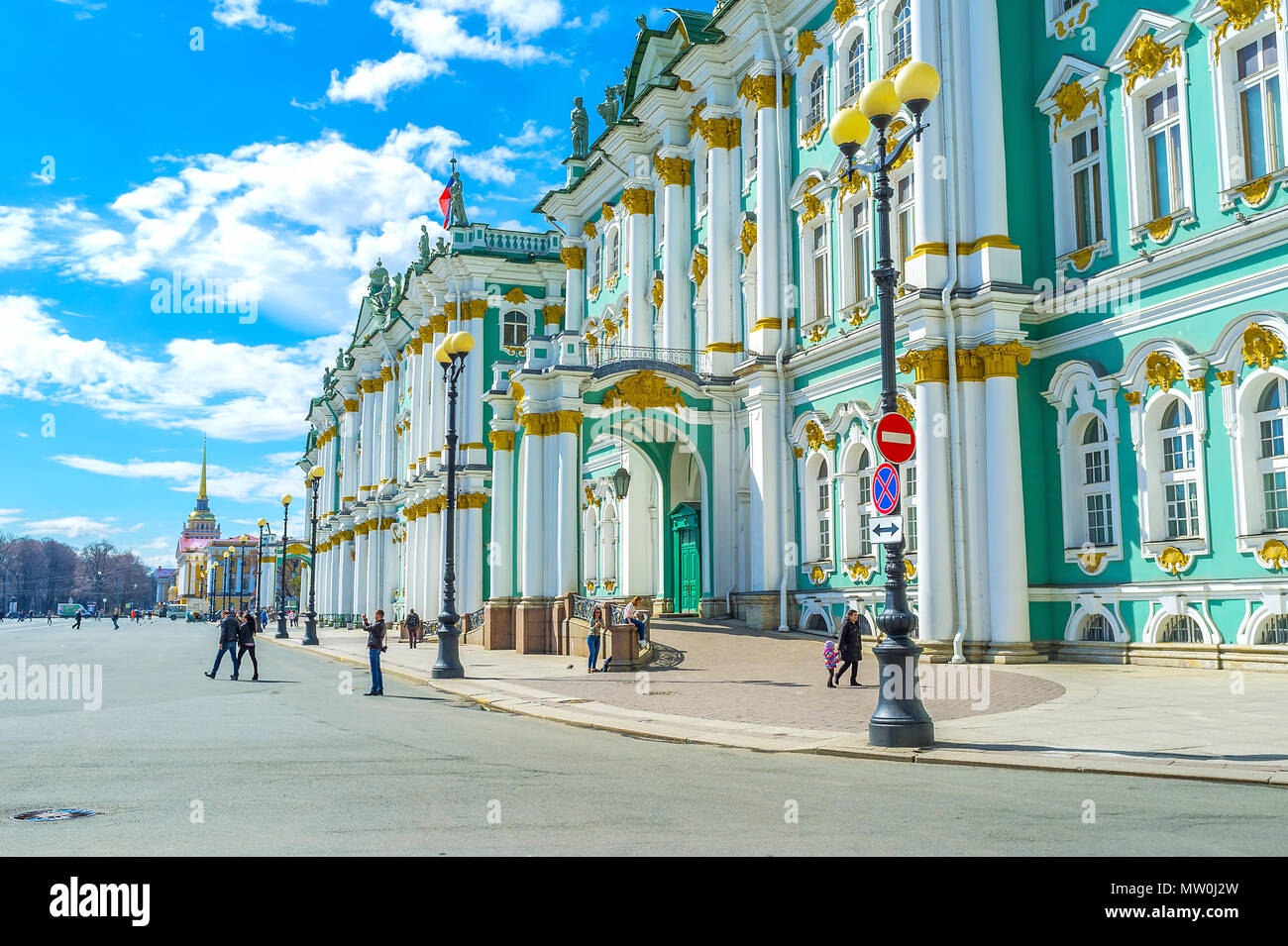 SAINT PETERSBURG, RUSSIA - APRIL 27, 2015: Winter Palace is one of the most beautiful edifices in the city with unique decorations, on April 27 in S.  - Stock Image
