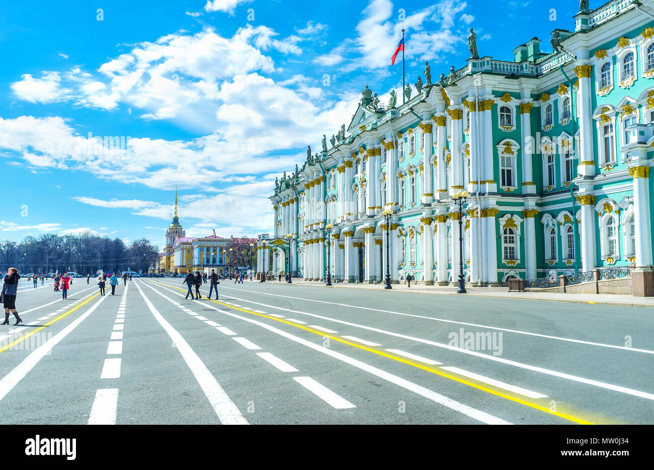 SAINT PETERSBURG, RUSSIA - APRIL 27, 2015: The Palace Square was the main square in former Russian Empire and was a location of main events, on April  - Stock Image
