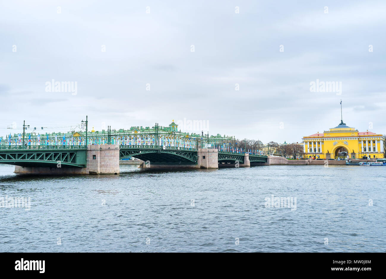 SAINT PETERSBURG, RUSSIA - APRIL 26, 2015: The view on Palace Bridge and Admiralty Building and Winter Palace on the background, on April 26 in S. Pet Stock Photo