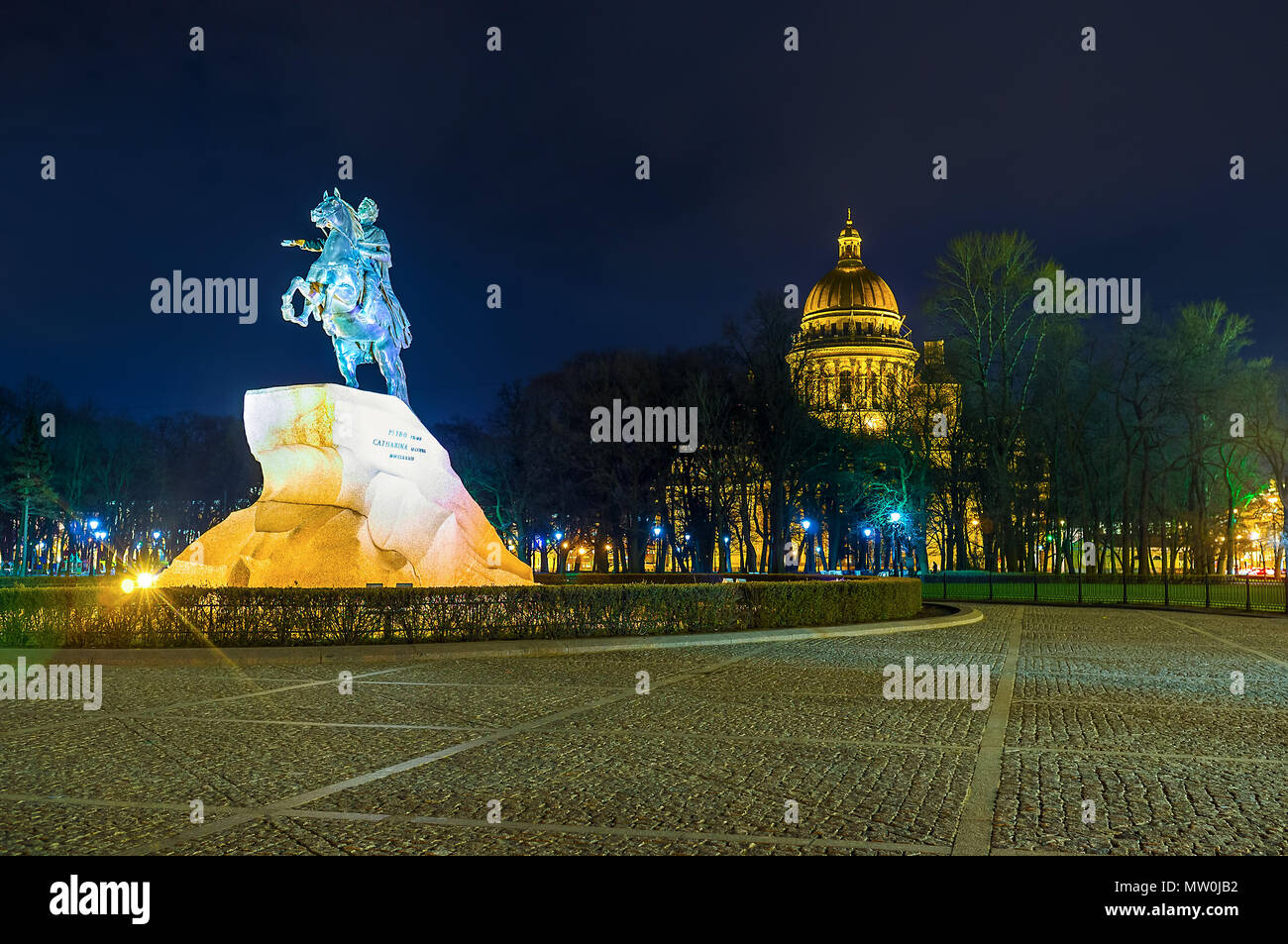 The equestrian statue to Peter The Great is the symbol of Saint Petersburg city, Russia Stock Photo