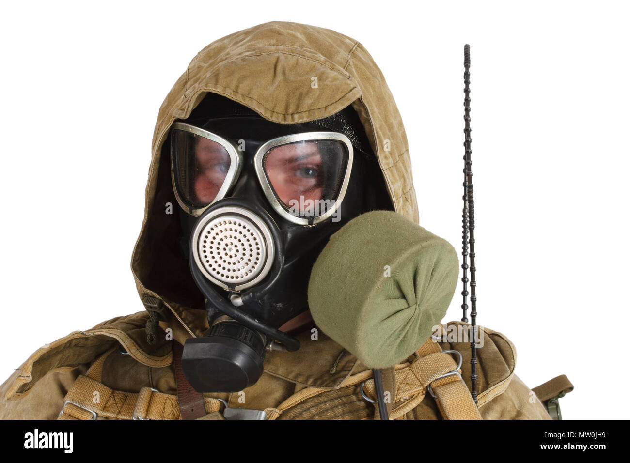 Stalker in gas mask isolated on white - Stock Image