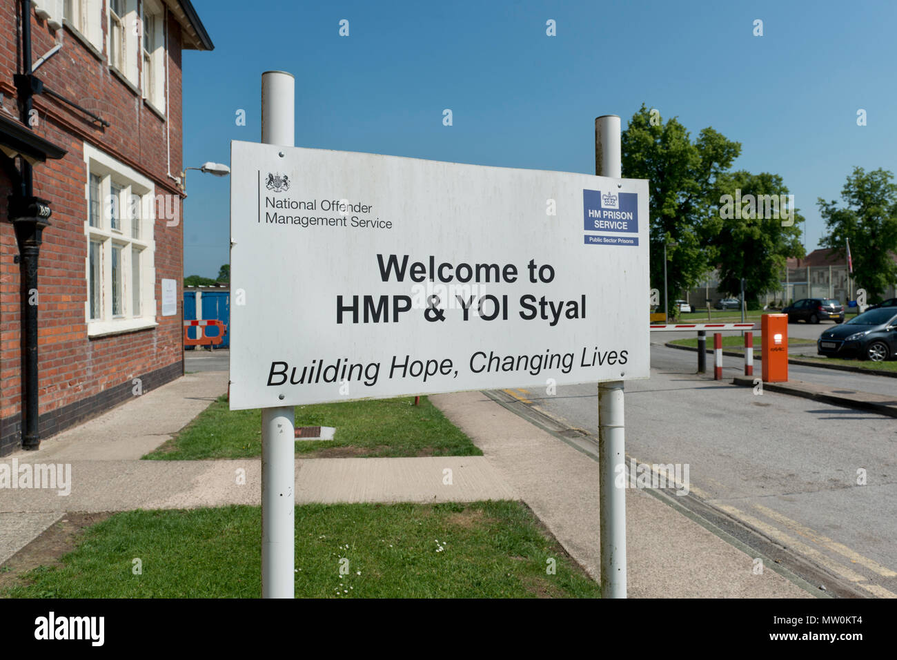 Signage outside HM Prison Styal in Cheshire, UK - Stock Image