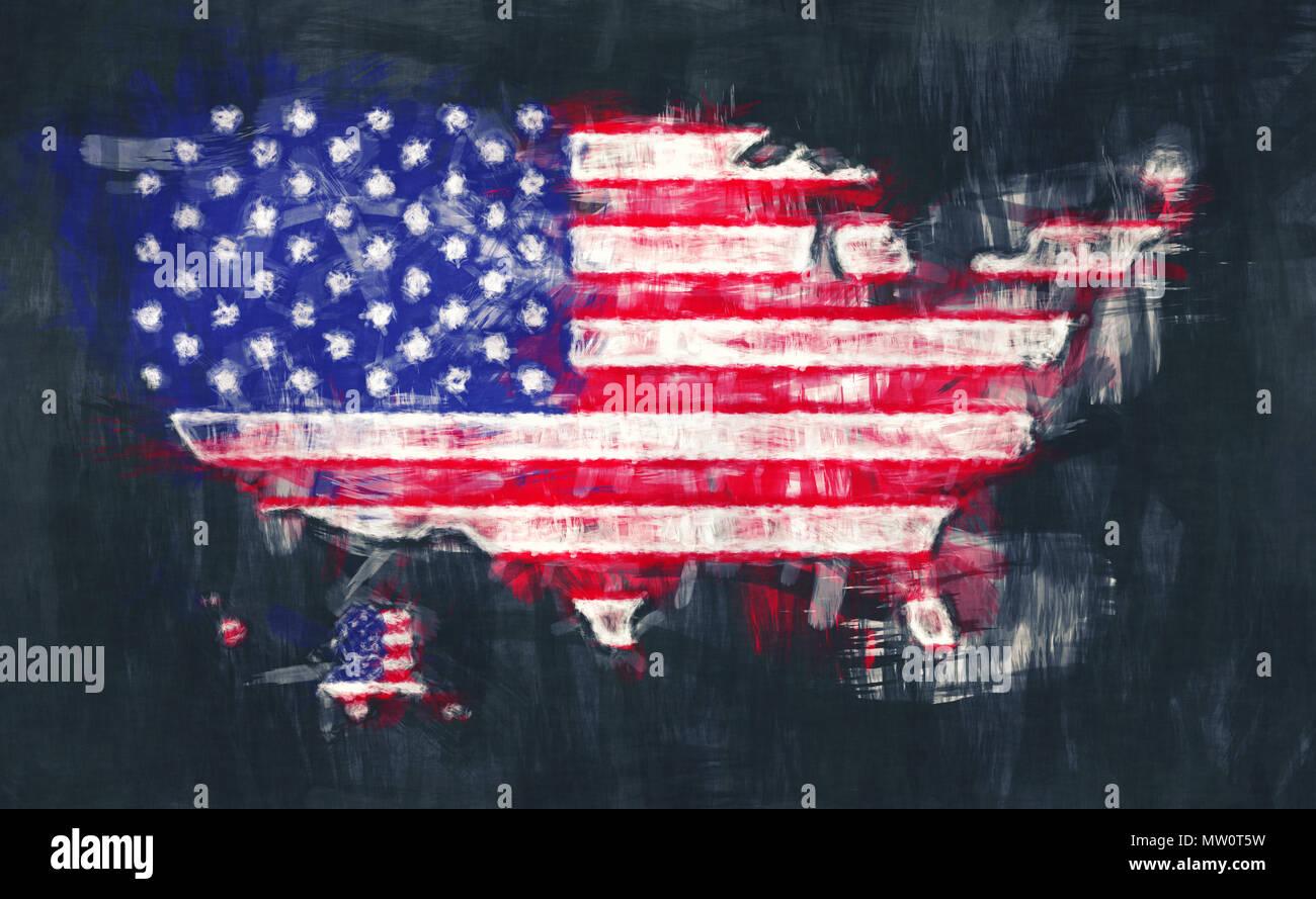 Us Map Artwork.United States Of America Map Artwork Painting Illustration Stock