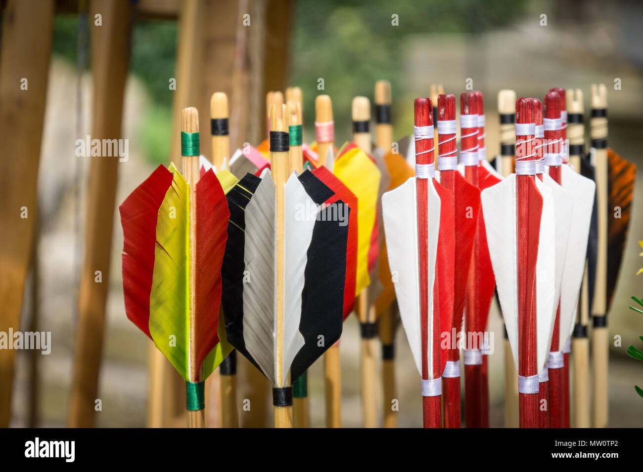Handmade Arrows - handgemachte Pfeile - for archery - Stock Image