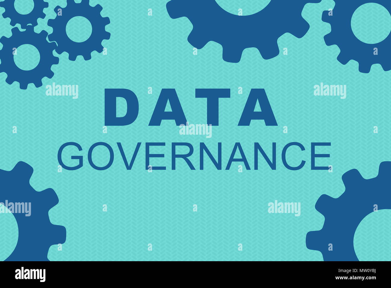 DATA GOVERNANCE sign concept illustration with blue gear wheel figures on pale blue background - Stock Image