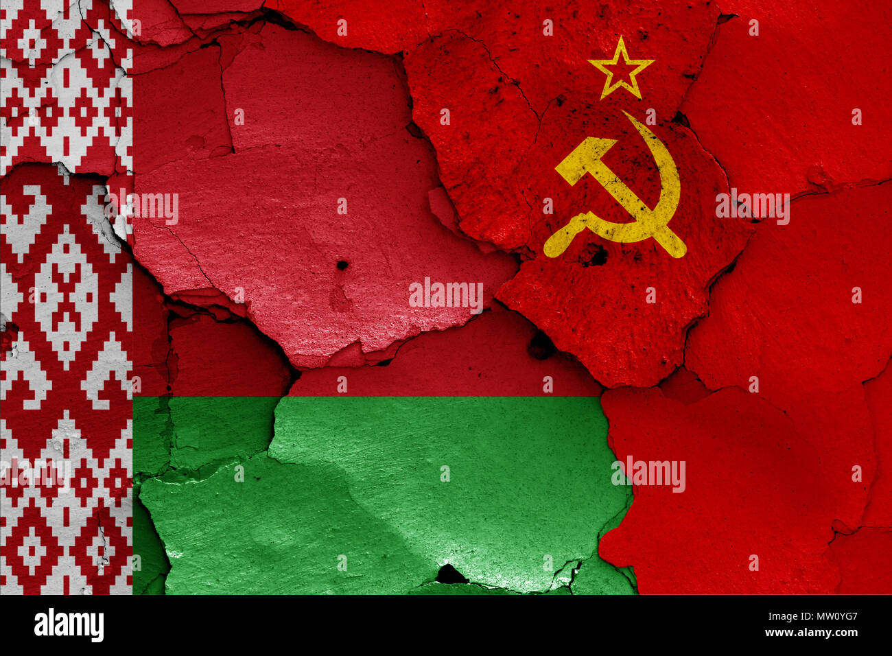 flags of Belarus and Soviet Union - Stock Image