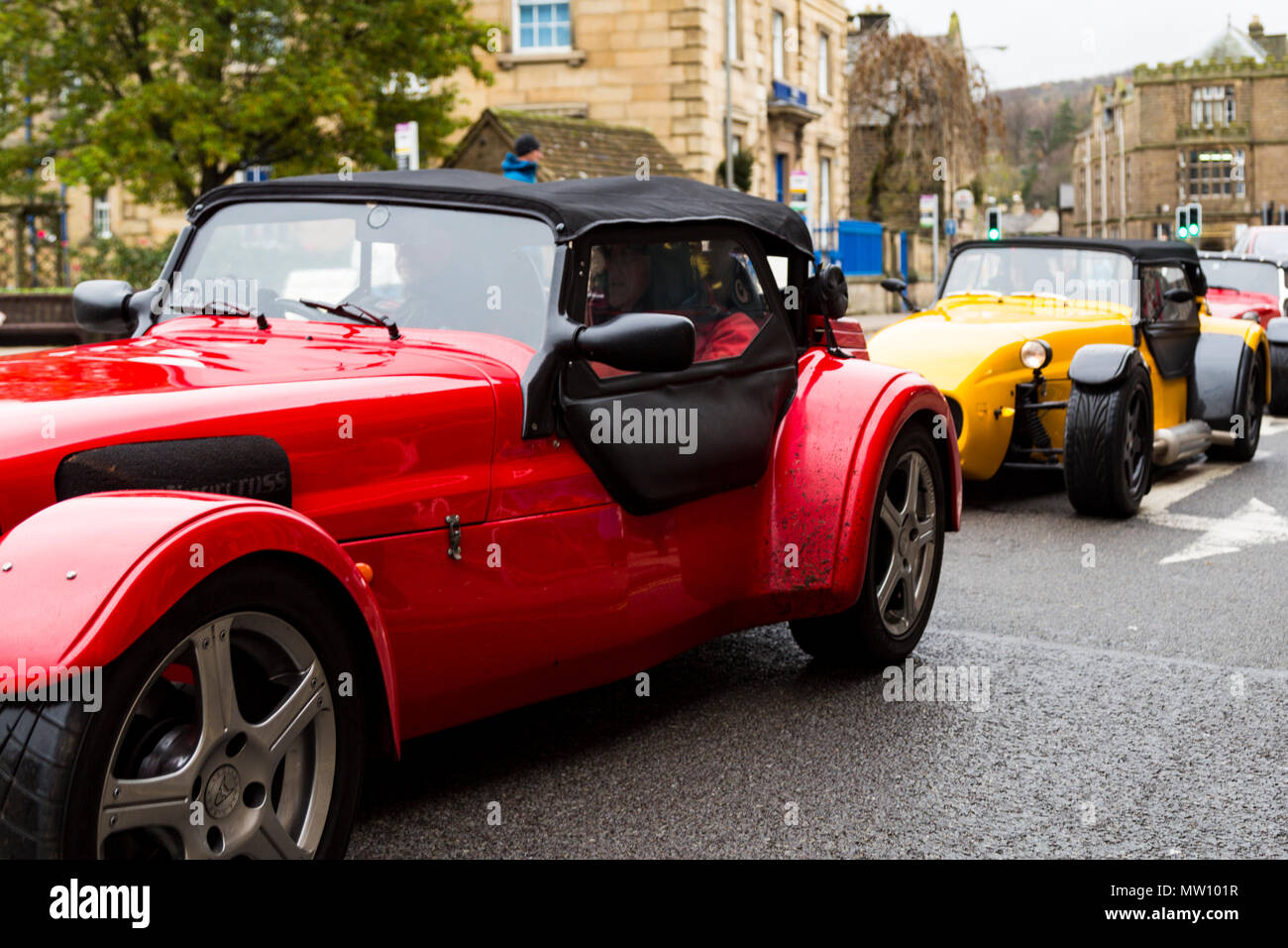 A group of Westfield Sport Cars seen in a line in the Derbyshire town of Bakewell Stock Photo
