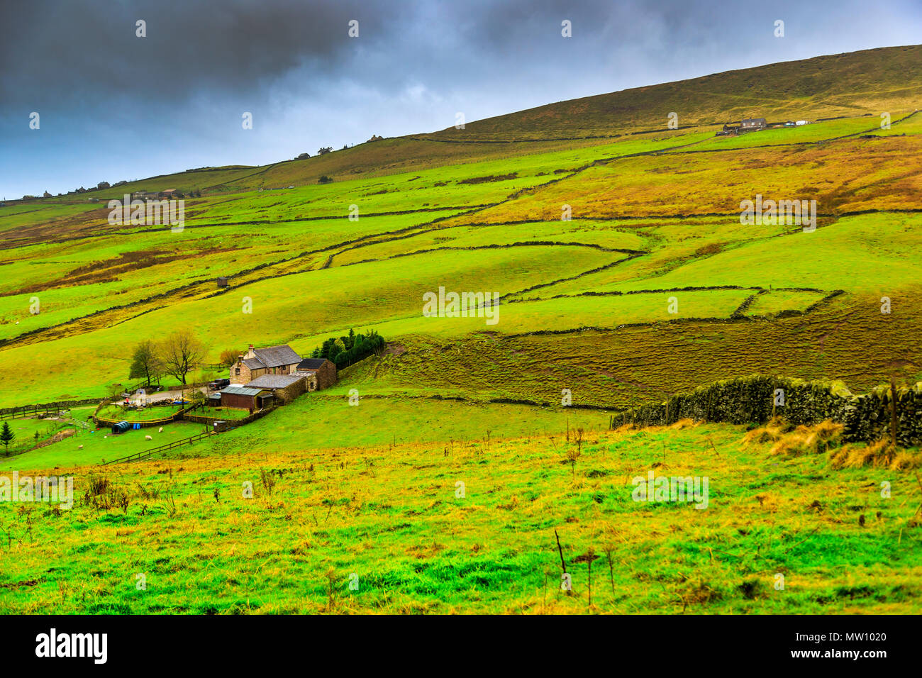 The rolling hills of Derbyshire - Stock Image