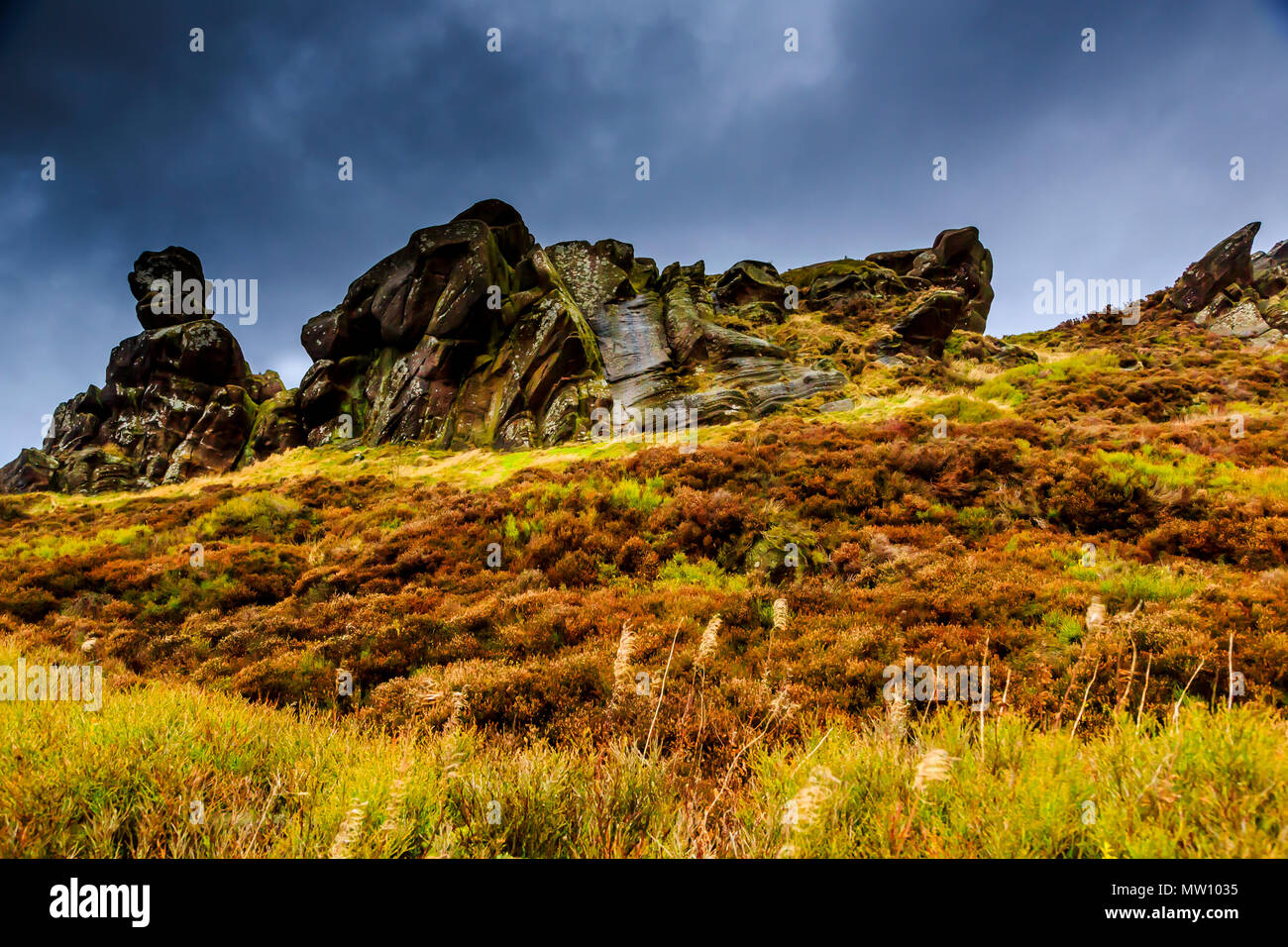 A rocky outcrop on the rolling hills of Derbyshire - Stock Image