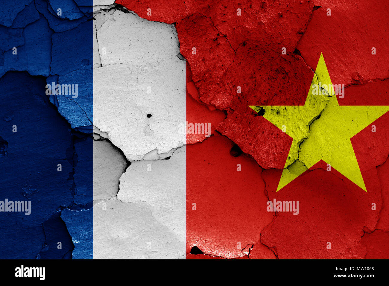 flags of French Indochina and North Vietnam - Stock Image