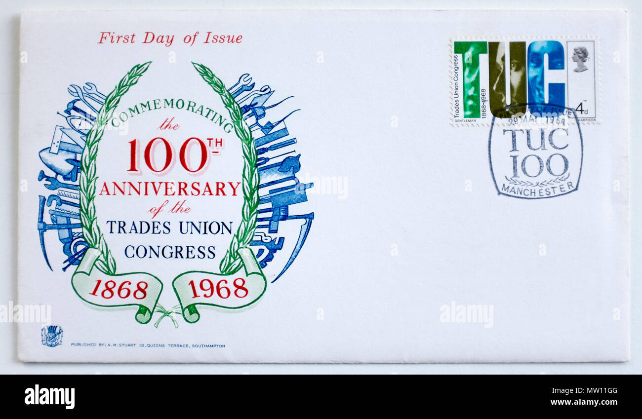 1968 First Day Cover Stamp GB Trade Union Congress TUC 100 Year Anniversary - Stock Image