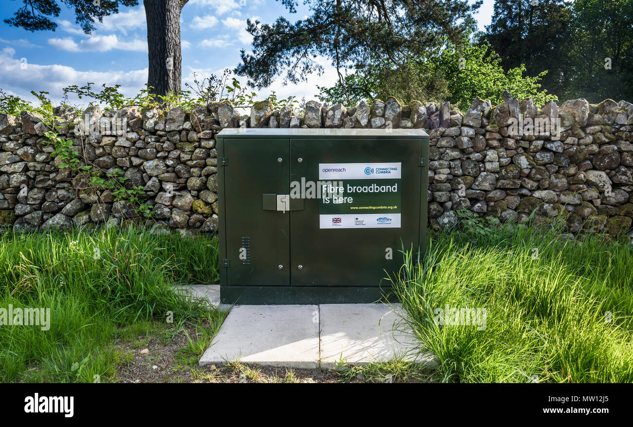 A fibre broadband junction box advertising the arrival in Nether Wasdale, Cumbria, Uk. - Stock Image