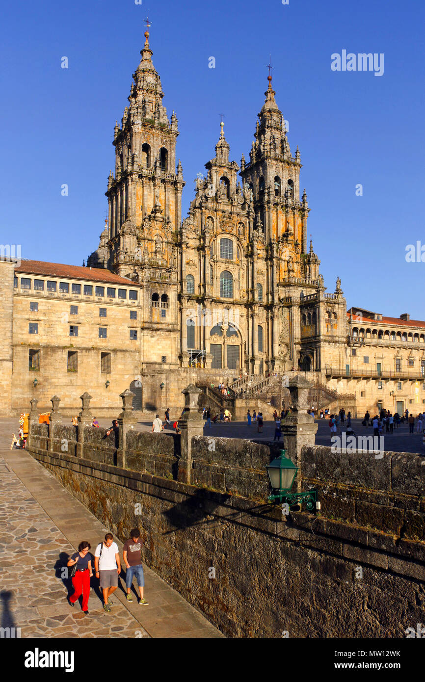 Catedral de Santiago de Compostela / Cathedral of Santiago de Compostela, Praza do Obradoiro / Plaza del Obradoiro, Santiago de Compostela,Spain Stock Photo