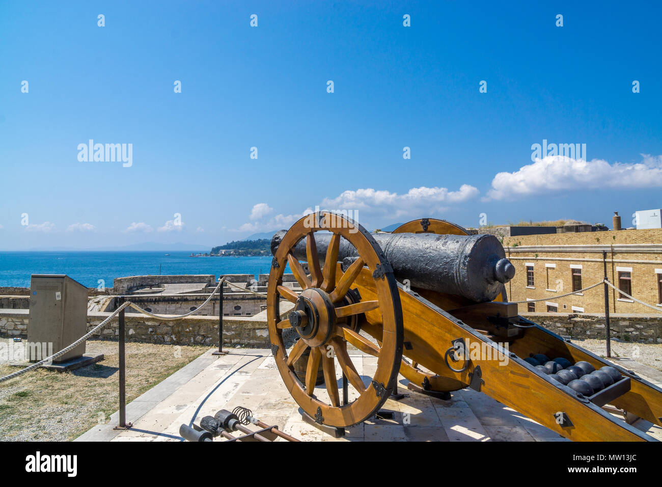 old cannon shooting to the water korfu - Stock Image