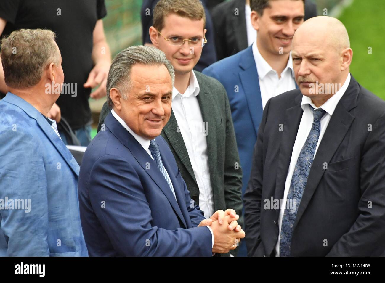 May 18, 2018. - Russia, Moscow Region, Novogorsk. - Russian national football team holds training session. In picture: President of the Russian Football Union, Deputy Prime Minister Vitaly Mutko (center). - Stock Image