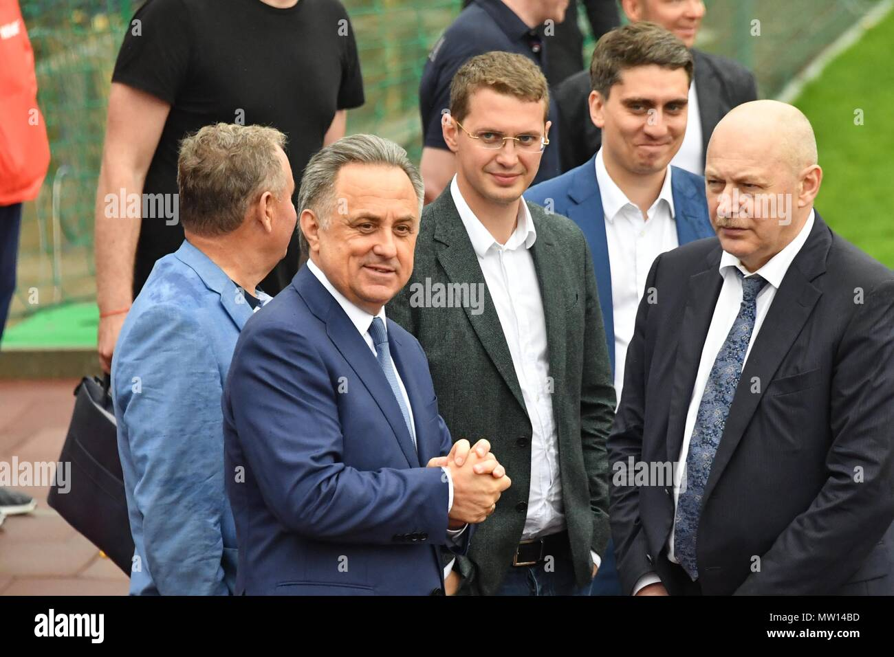 May 18, 2018. - Russia, Moscow Region, Novogorsk. - Russian national football team holds training session. In picture: President of the Russian Football Union, Deputy Prime Minister Vitaly Mutko (left). - Stock Image