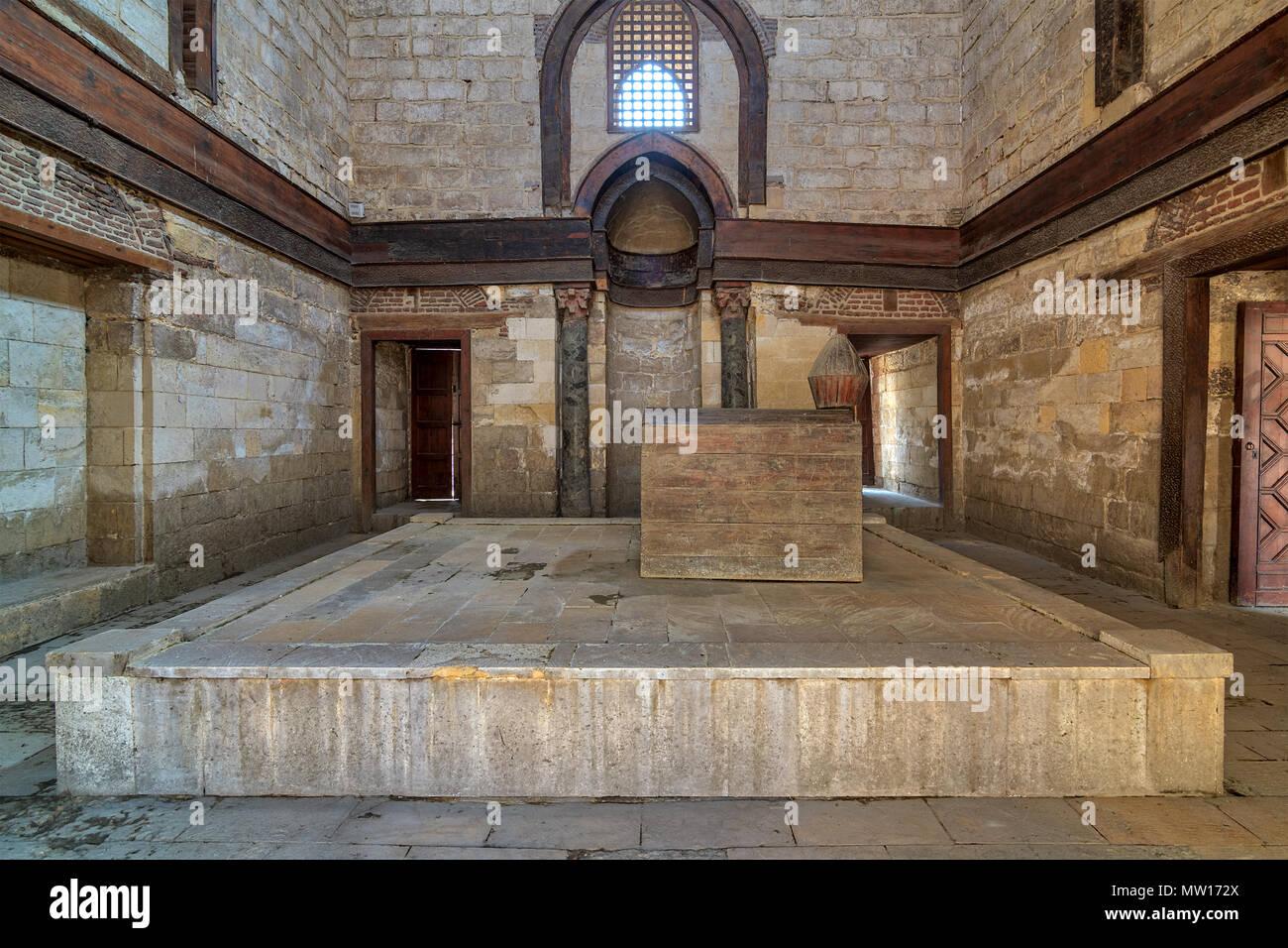 Interior of Mausoleum of al-Nasir Muhammad Ibn Qalawun, Al Muizz Street, Old Cairo, Egypt - Stock Image