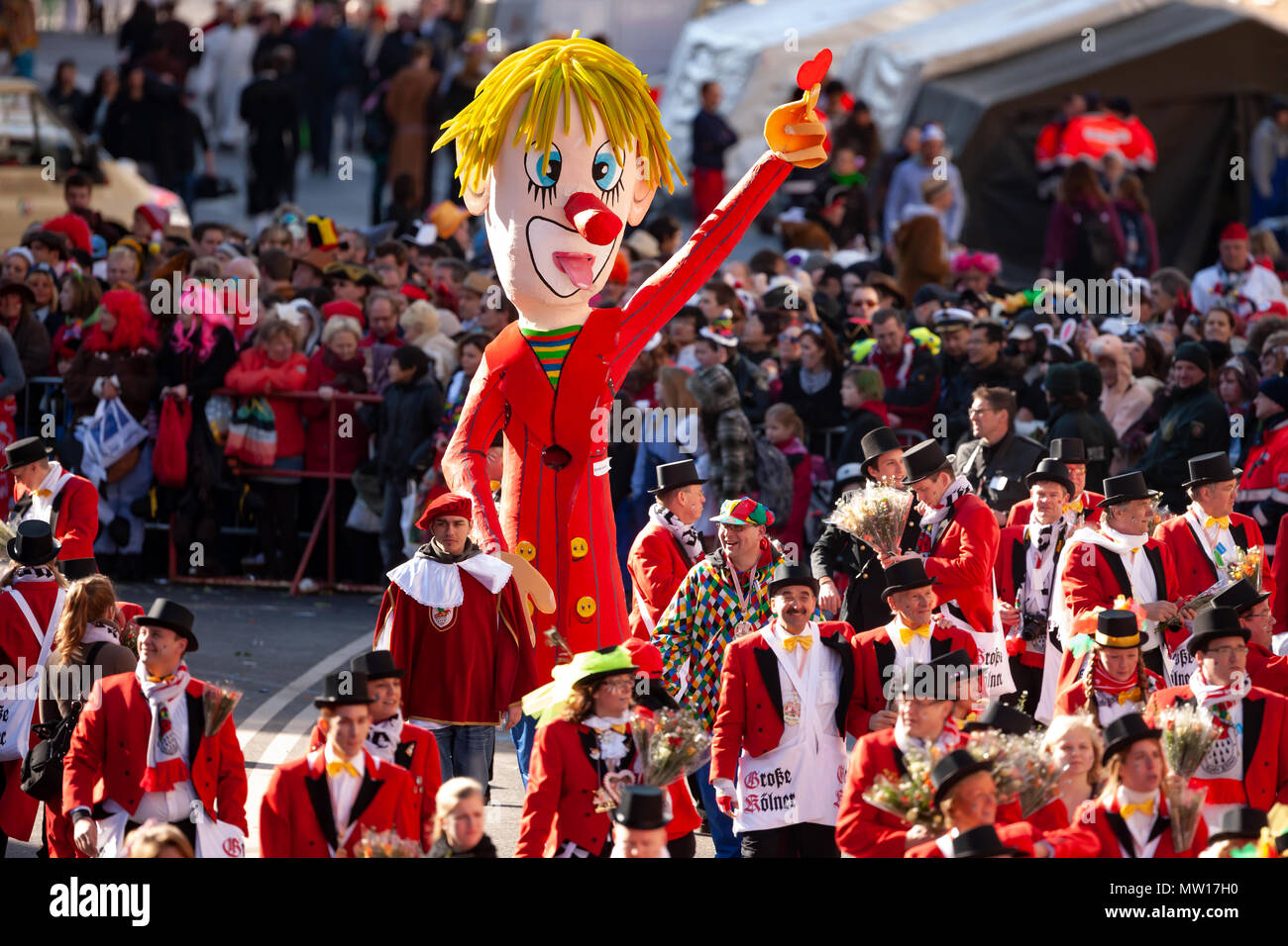 Large paper mache clown sculpture at rose monday parade 2011 in Cologne, Germany Stock Photo