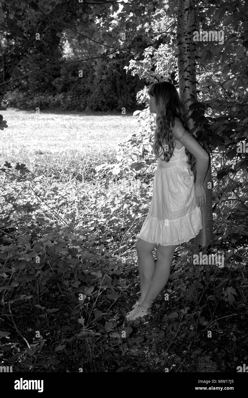 Lady in white dress posing in woodland in evening light Stock Photo