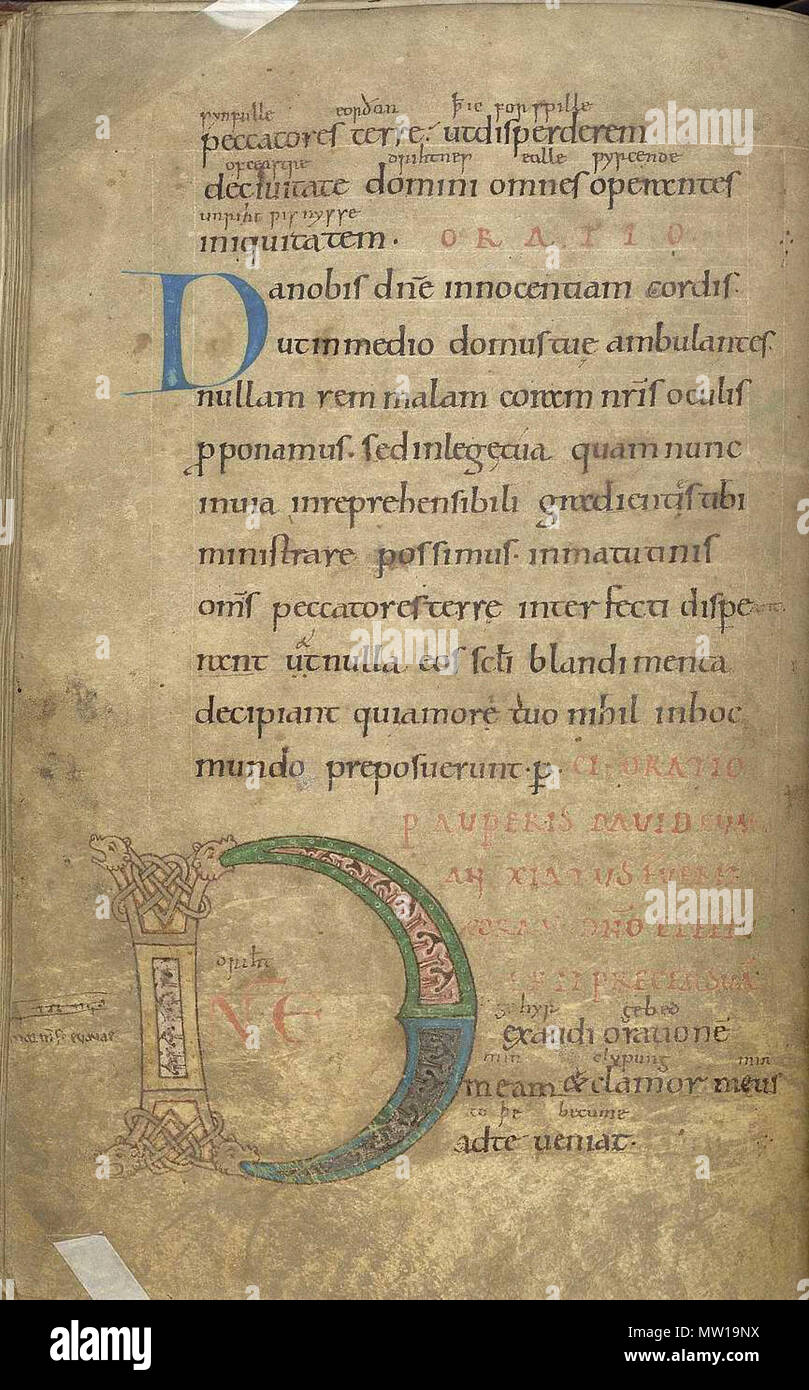 English: Folio 111 verso from a psalter (British Library