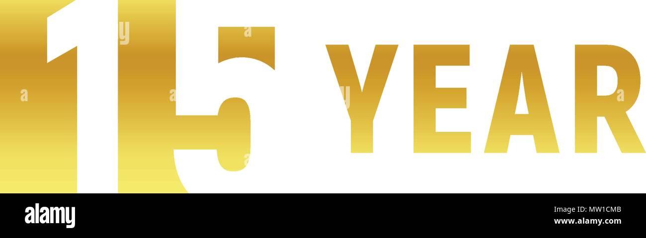 15 Year Happy Birthday Gold Logo On White Background Corporate