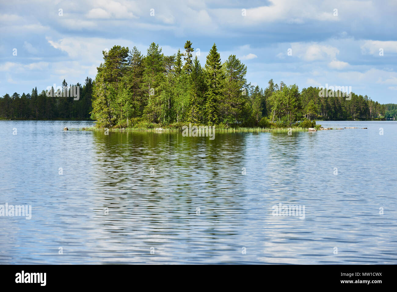 Relaxing Finnish landscape,  with lake, forest, trees, sky and clouds - Stock Image