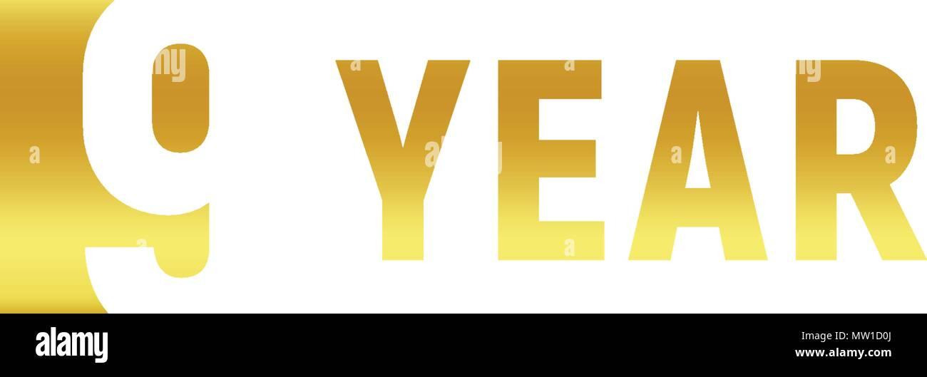 9 Year Happy Birthday Gold Logo On White Background Corporate