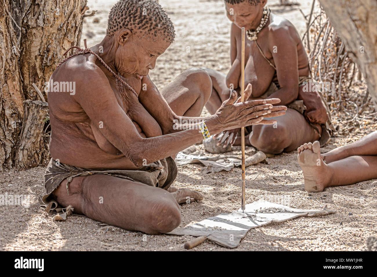 San, Living Museum, Omandumba, Damaraland, Namibia, Africa - Stock Image